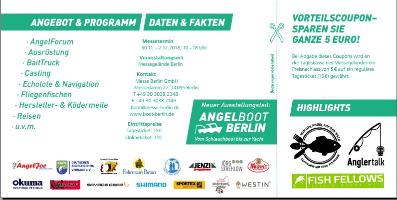 Vorteils Coupon Eintritt Angelwelt Berlin und Angelboot Messe Feelfree Kayak und Anglercamp Peenestrom